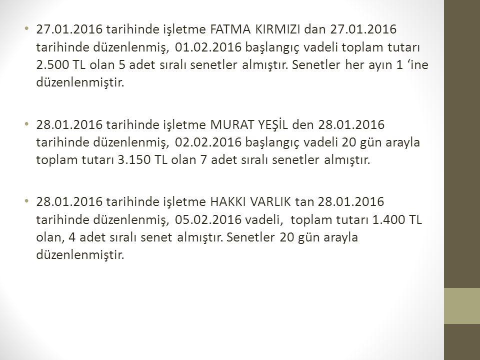 27.01.2016 tarihinde işletme FATMA KIRMIZI dan 27.01.2016 tarihinde düzenlenmiş, 01.02.2016 başlangıç vadeli toplam tutarı 2.500 TL olan 5 adet sıralı