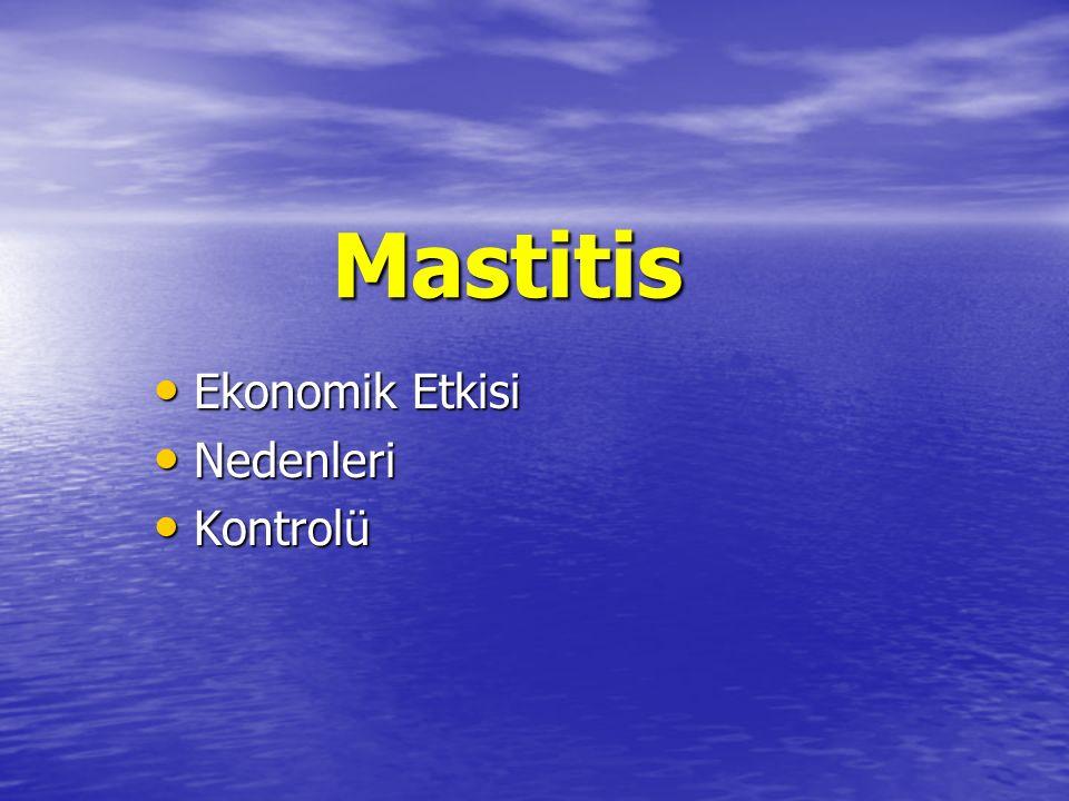 Mastitis Ekonomik Etkisi Ekonomik Etkisi Nedenleri Nedenleri Kontrolü Kontrolü