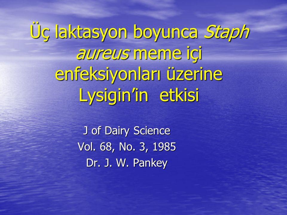 Üç laktasyon boyunca Staph aureus meme içi enfeksiyonları üzerine Lysigin'in etkisi J of Dairy Science Vol.