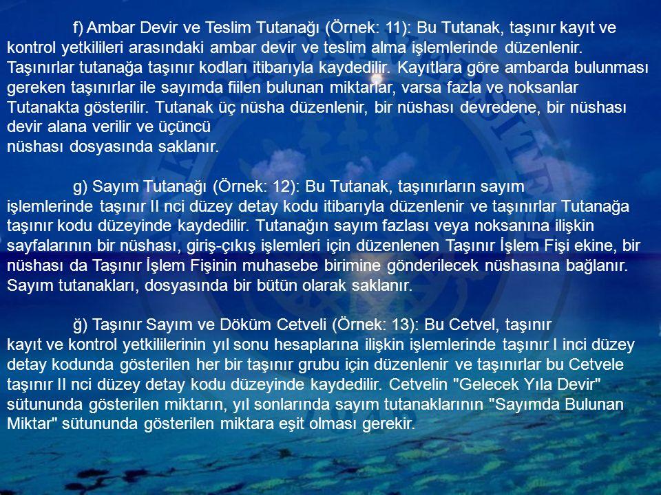 f) Ambar Devir ve Teslim Tutanağı (Örnek: 11): Bu Tutanak, taşınır kayıt ve kontrol yetkilileri arasındaki ambar devir ve teslim alma işlemlerinde düzenlenir.