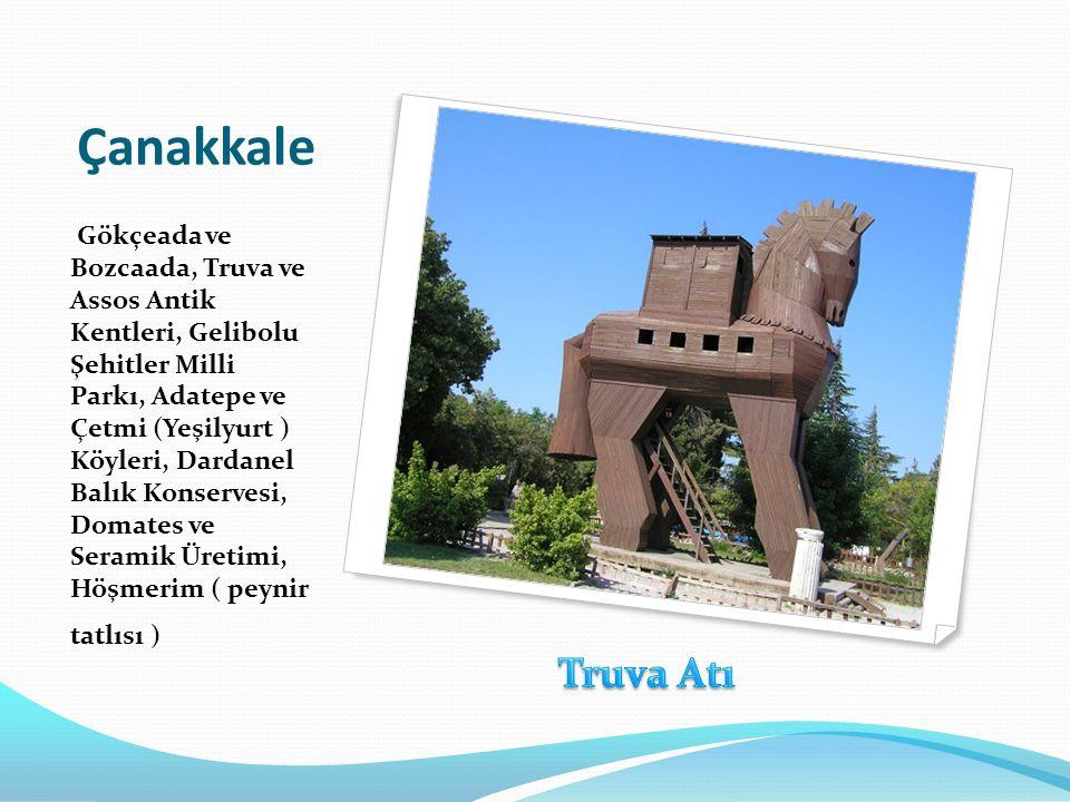 Çanakkale Gökçeada ve Bozcaada, Truva ve Assos Antik Kentleri, Gelibolu Şehitler Milli Parkı, Adatepe ve Çetmi (Yeşilyurt ) Köyleri, Dardanel Balık Ko
