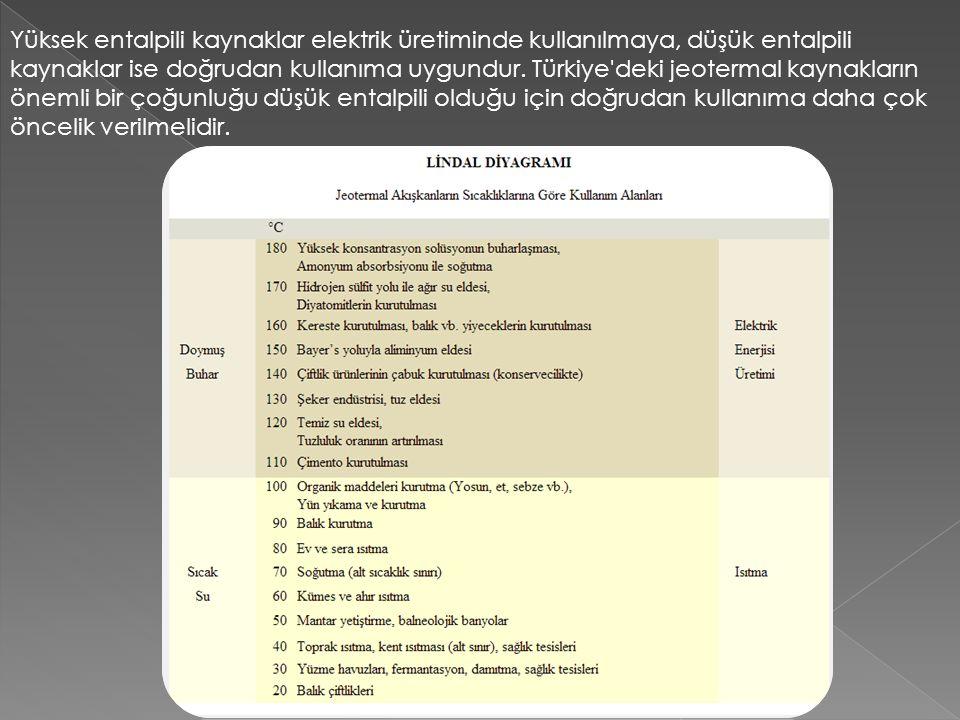 Yüksek entalpili kaynaklar elektrik üretiminde kullanılmaya, düşük entalpili kaynaklar ise doğrudan kullanıma uygundur. Türkiye'deki jeotermal kaynakl