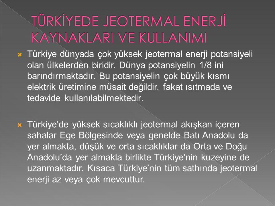  Türkiye dünyada çok yüksek jeotermal enerji potansiyeli olan ülkelerden biridir. Dünya potansiyelin 1/8 ini barındırmaktadır. Bu potansiyelin çok bü