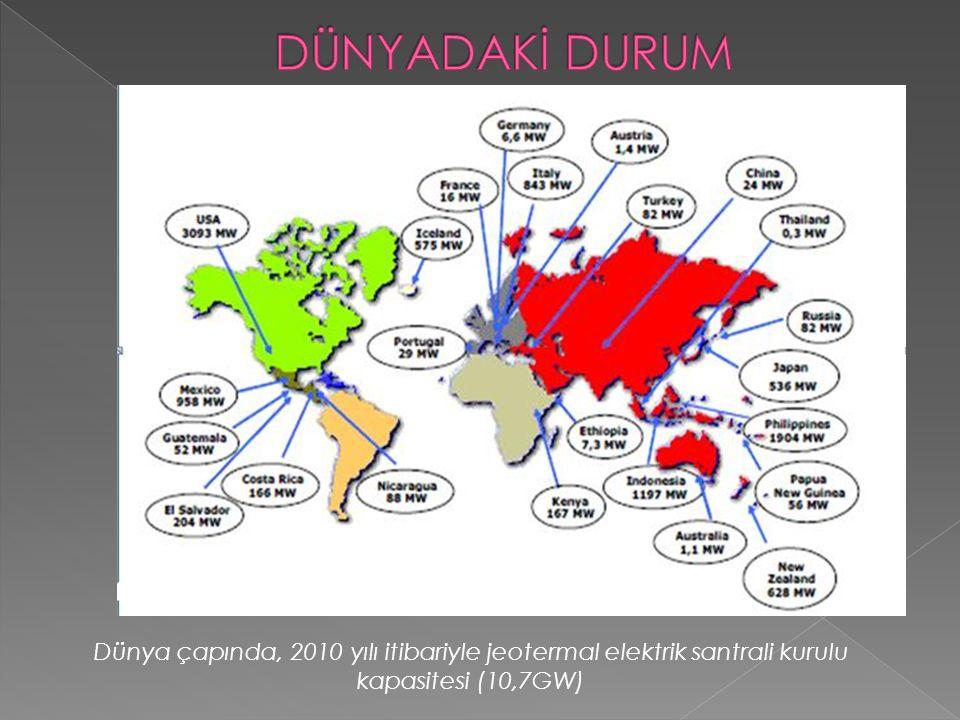 Dünya çapında, 2010 yılı itibariyle jeotermal elektrik santrali kurulu kapasitesi (10,7GW)