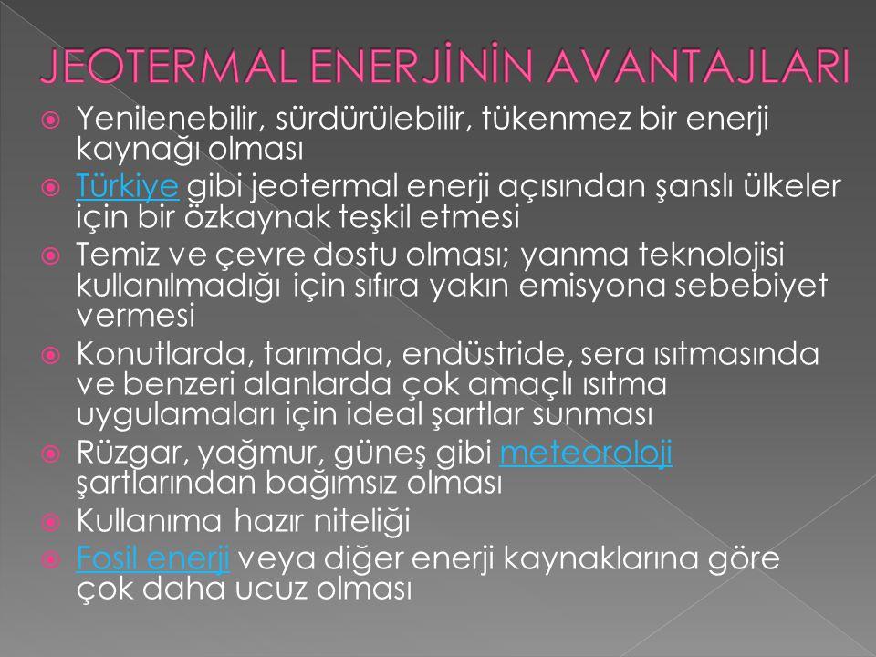  Yenilenebilir, sürdürülebilir, tükenmez bir enerji kaynağı olması  Türkiye gibi jeotermal enerji açısından şanslı ülkeler için bir özkaynak teşkil