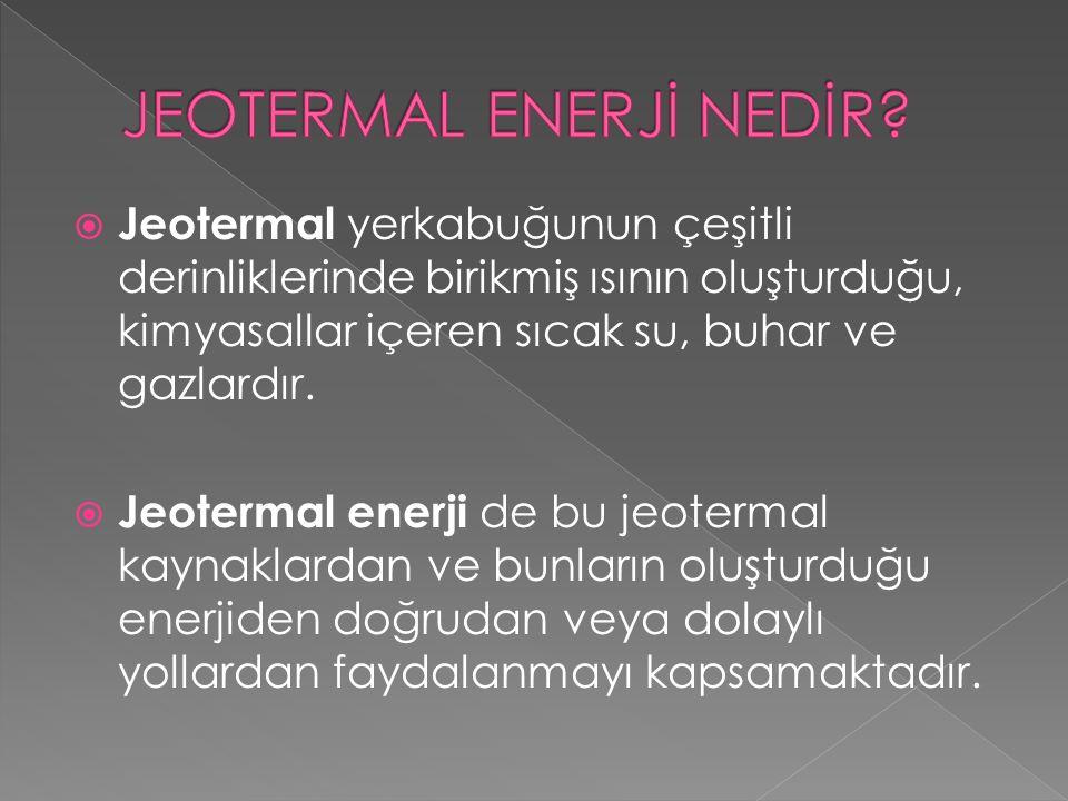  Jeotermal yerkabuğunun çeşitli derinliklerinde birikmiş ısının oluşturduğu, kimyasallar içeren sıcak su, buhar ve gazlardır.  Jeotermal enerji de b