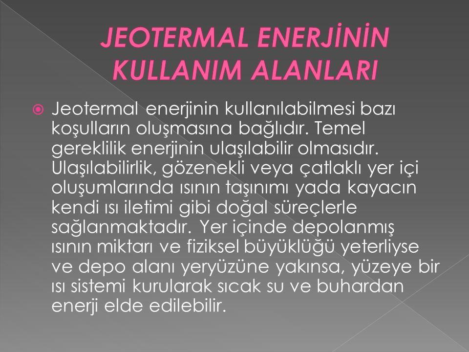  Jeotermal enerjinin kullanılabilmesi bazı koşulların oluşmasına bağlıdır. Temel gereklilik enerjinin ulaşılabilir olmasıdır. Ulaşılabilirlik, gözene