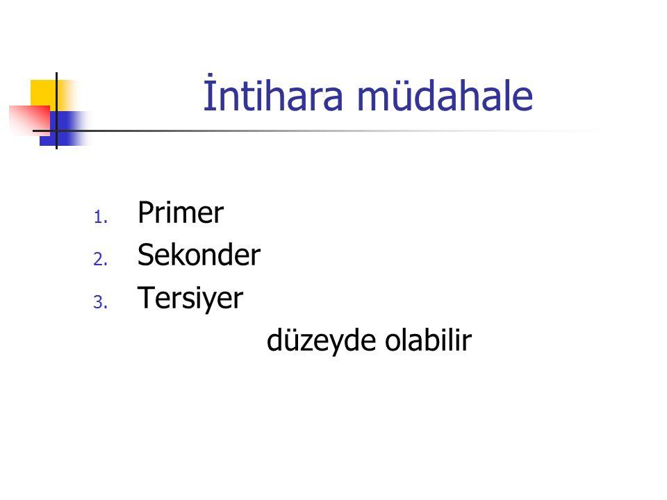 İntihara müdahale 1. Primer 2. Sekonder 3. Tersiyer düzeyde olabilir