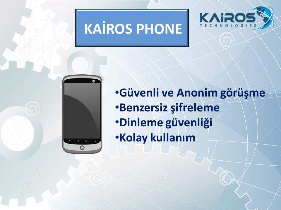 KAİROS PHONE Güvenli ve Anonim görüşme Benzersiz şifreleme Dinleme güvenliği Kolay kullanım