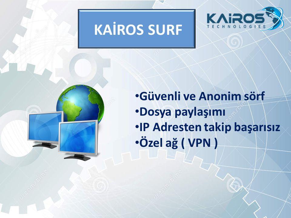 KAİROS SURF Güvenli ve Anonim sörf Dosya paylaşımı IP Adresten takip başarısız Özel ağ ( VPN )