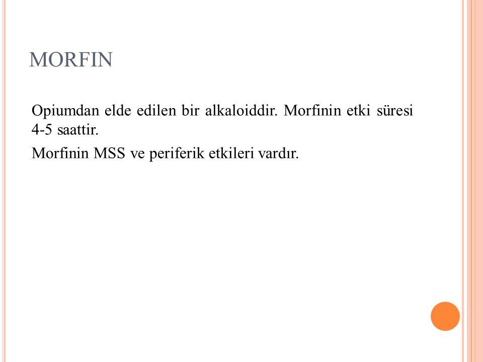 MORFIN Opiumdan elde edilen bir alkaloiddir. Morfinin etki süresi 4-5 saattir.
