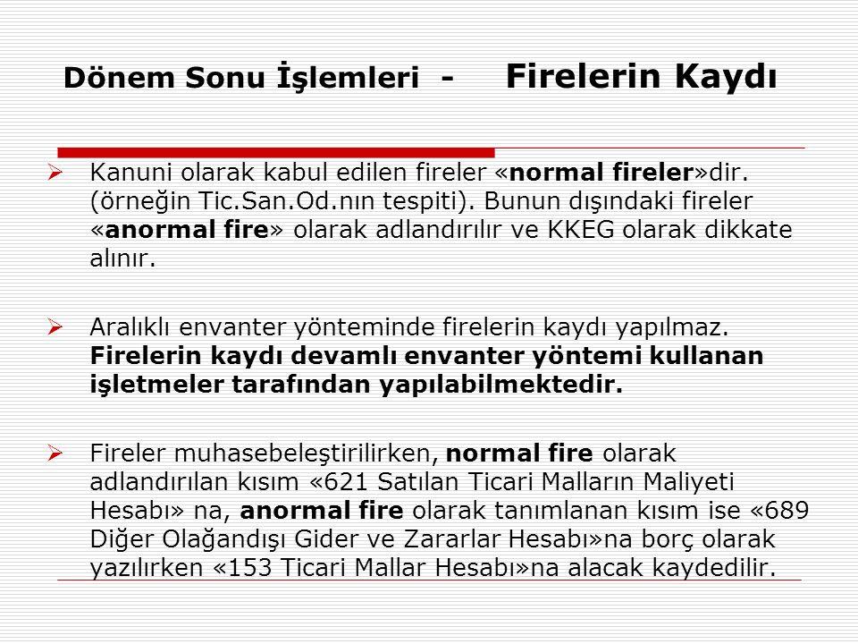 Dönem Sonu İşlemleri - Firelerin Kaydı  Kanuni olarak kabul edilen fireler «normal fireler»dir. (örneğin Tic.San.Od.nın tespiti). Bunun dışındaki fir