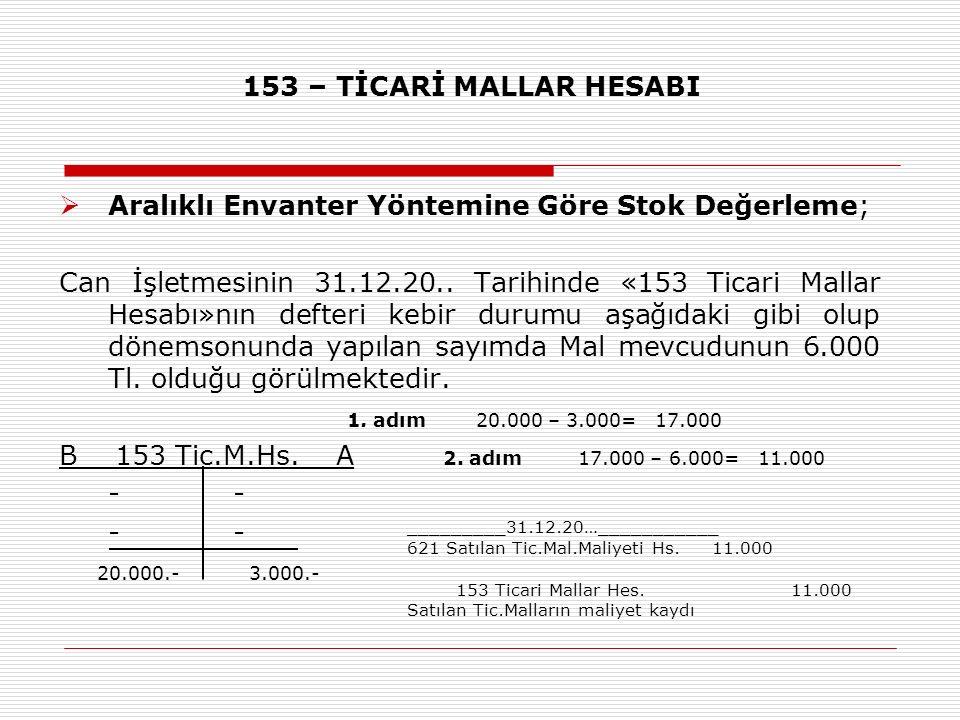 153 – TİCARİ MALLAR HESABI  Aralıklı Envanter Yöntemine Göre Stok Değerleme; Can İşletmesinin 31.12.20.. Tarihinde «153 Ticari Mallar Hesabı»nın deft