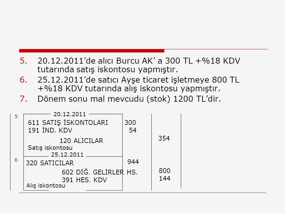 5.20.12.2011'de alıcı Burcu AK' a 300 TL +%18 KDV tutarında satış iskontosu yapmıştır. 6.25.12.2011'de satıcı Ayşe ticaret işletmeye 800 TL +%18 KDV t