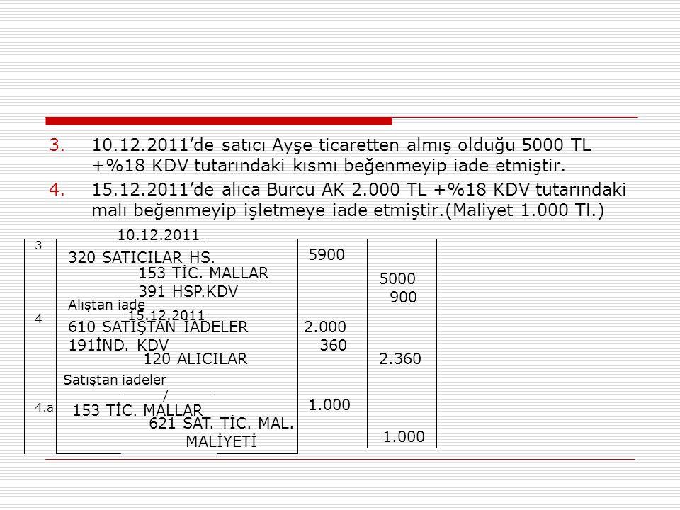 3.10.12.2011'de satıcı Ayşe ticaretten almış olduğu 5000 TL +%18 KDV tutarındaki kısmı beğenmeyip iade etmiştir. 4.15.12.2011'de alıca Burcu AK 2.000