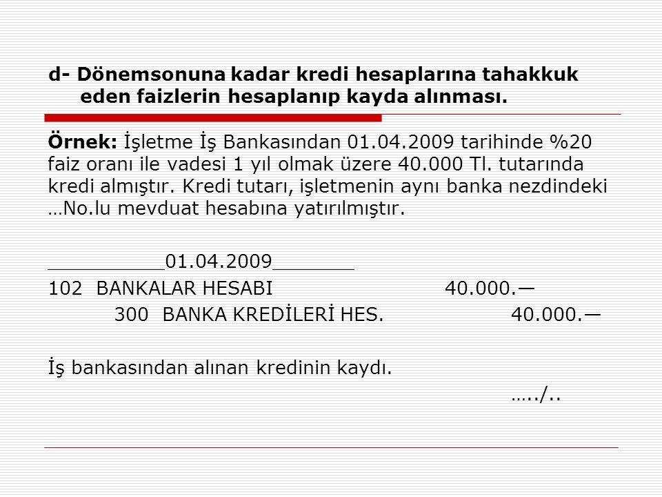 d- Dönemsonuna kadar kredi hesaplarına tahakkuk eden faizlerin hesaplanıp kayda alınması. Örnek: İşletme İş Bankasından 01.04.2009 tarihinde %20 faiz