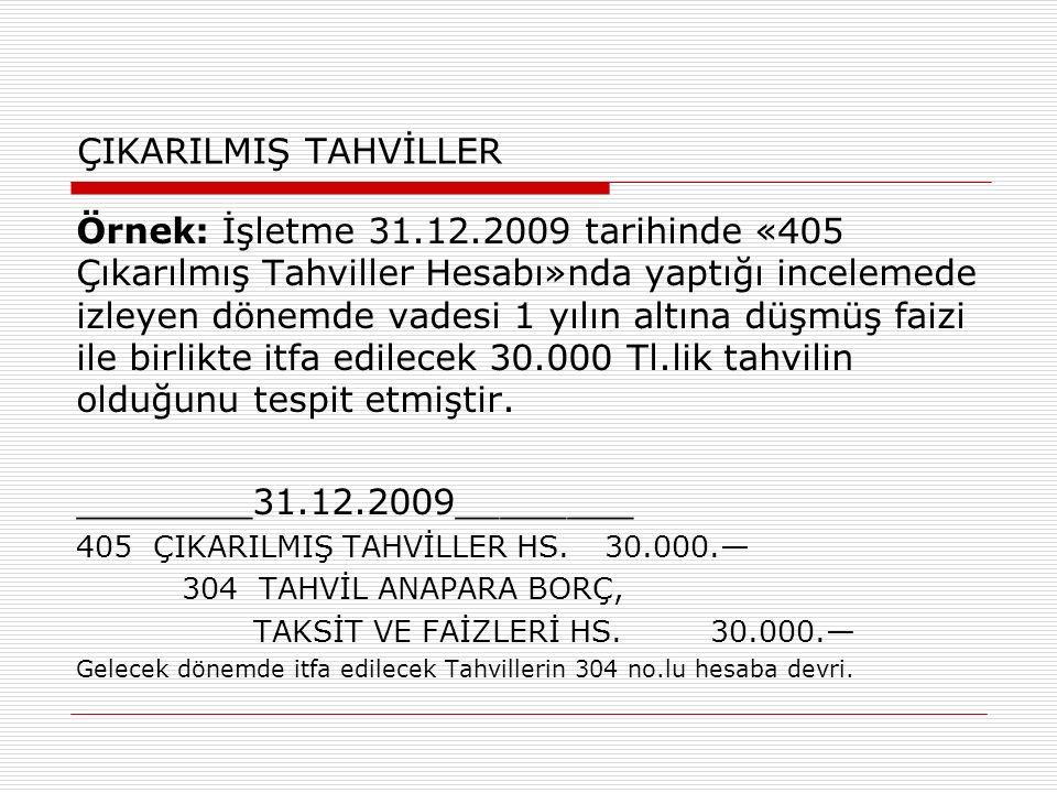 ÇIKARILMIŞ TAHVİLLER Örnek: İşletme 31.12.2009 tarihinde «405 Çıkarılmış Tahviller Hesabı»nda yaptığı incelemede izleyen dönemde vadesi 1 yılın altına
