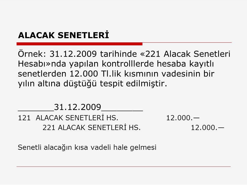 ALACAK SENETLERİ Örnek: 31.12.2009 tarihinde «221 Alacak Senetleri Hesabı»nda yapılan kontrolllerde hesaba kayıtlı senetlerden 12.000 Tl.lik kısmının