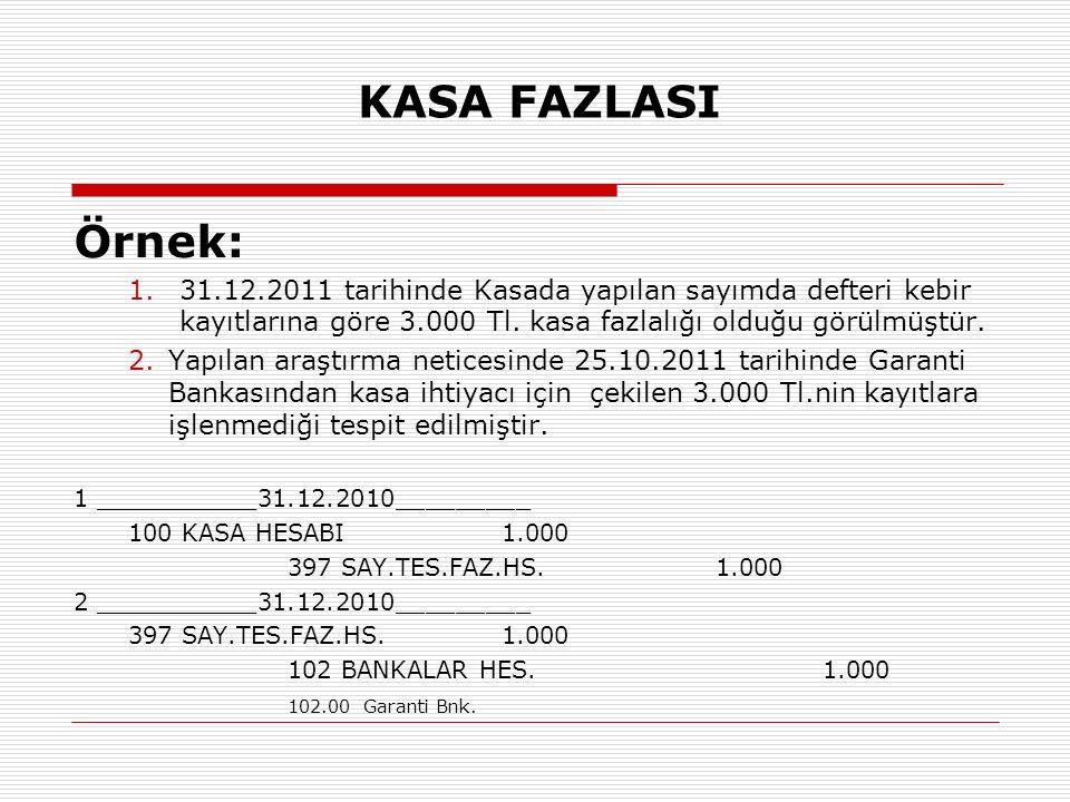 KASA FAZLASI Örnek: 1.31.12.2011 tarihinde Kasada yapılan sayımda defteri kebir kayıtlarına göre 3.000 Tl. kasa fazlalığı olduğu görülmüştür. 2.Yapıla