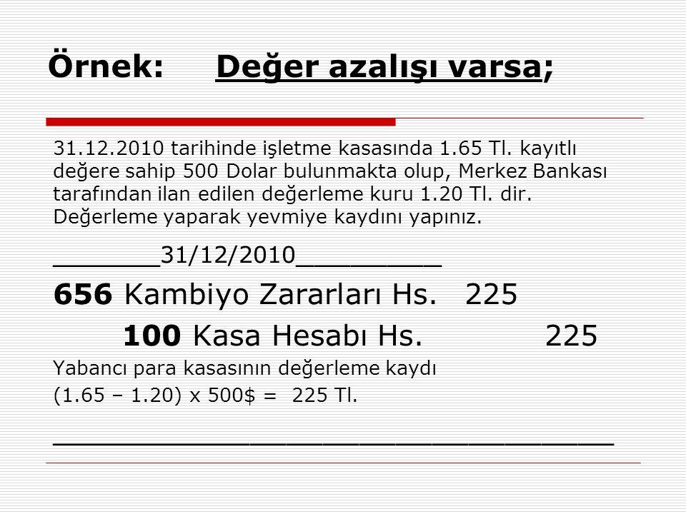 Örnek: Değer azalışı varsa; 31.12.2010 tarihinde işletme kasasında 1.65 Tl. kayıtlı değere sahip 500 Dolar bulunmakta olup, Merkez Bankası tarafından