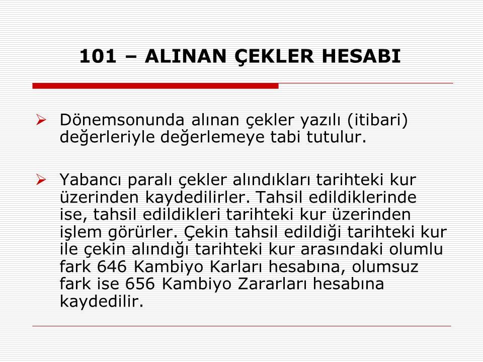 101 – ALINAN ÇEKLER HESABI  Dönemsonunda alınan çekler yazılı (itibari) değerleriyle değerlemeye tabi tutulur.  Yabancı paralı çekler alındıkları ta