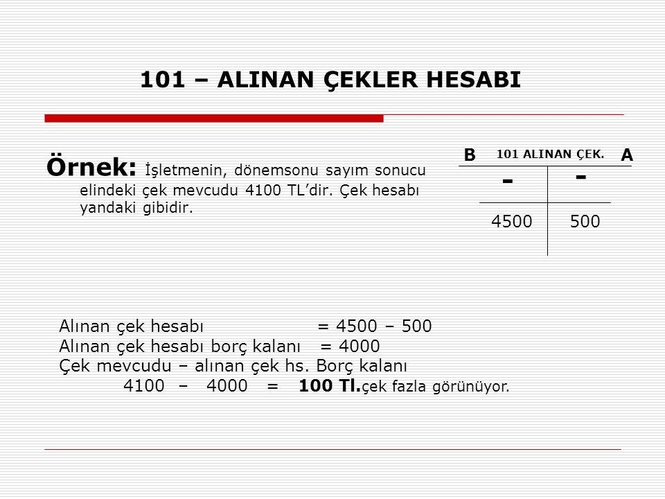 101 – ALINAN ÇEKLER HESABI Örnek: İşletmenin, dönemsonu sayım sonucu elindeki çek mevcudu 4100 TL'dir. Çek hesabı yandaki gibidir. BA 101 ALINAN ÇEK.
