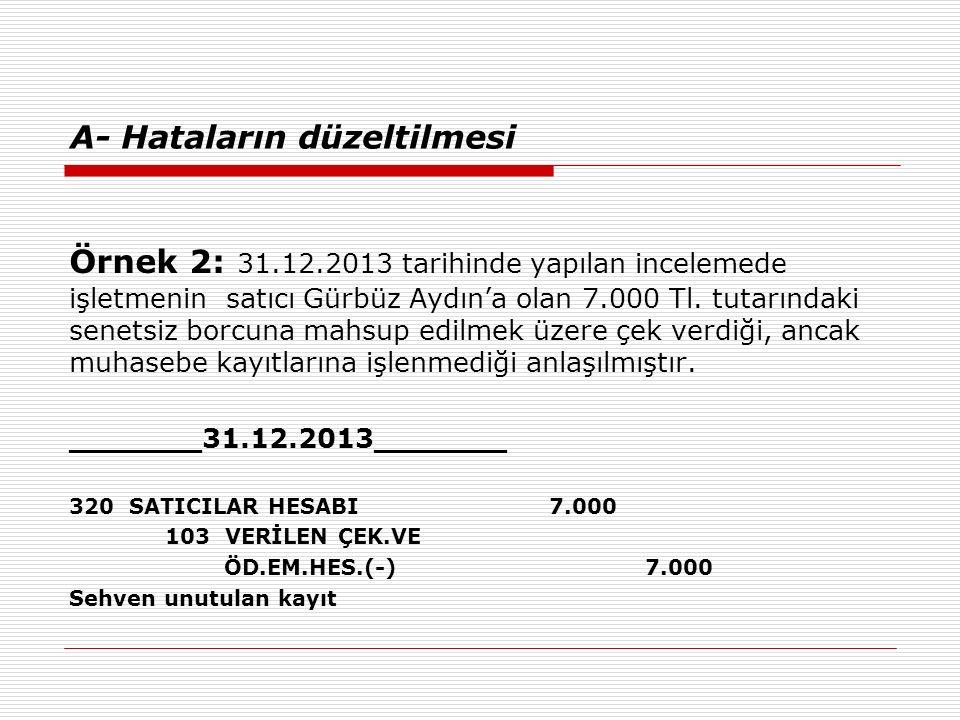 A- Hataların düzeltilmesi Örnek 2: 31.12.2013 tarihinde yapılan incelemede işletmenin satıcı Gürbüz Aydın'a olan 7.000 Tl. tutarındaki senetsiz borcun