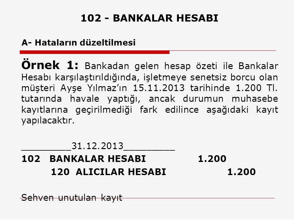 102 - BANKALAR HESABI A- Hataların düzeltilmesi Örnek 1: Bankadan gelen hesap özeti ile Bankalar Hesabı karşılaştırıldığında, işletmeye senetsiz borcu