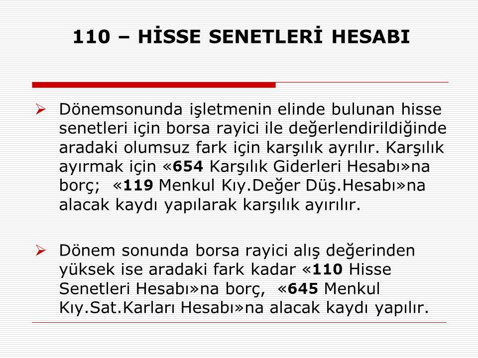 110 – HİSSE SENETLERİ HESABI  Dönemsonunda işletmenin elinde bulunan hisse senetleri için borsa rayici ile değerlendirildiğinde aradaki olumsuz fark
