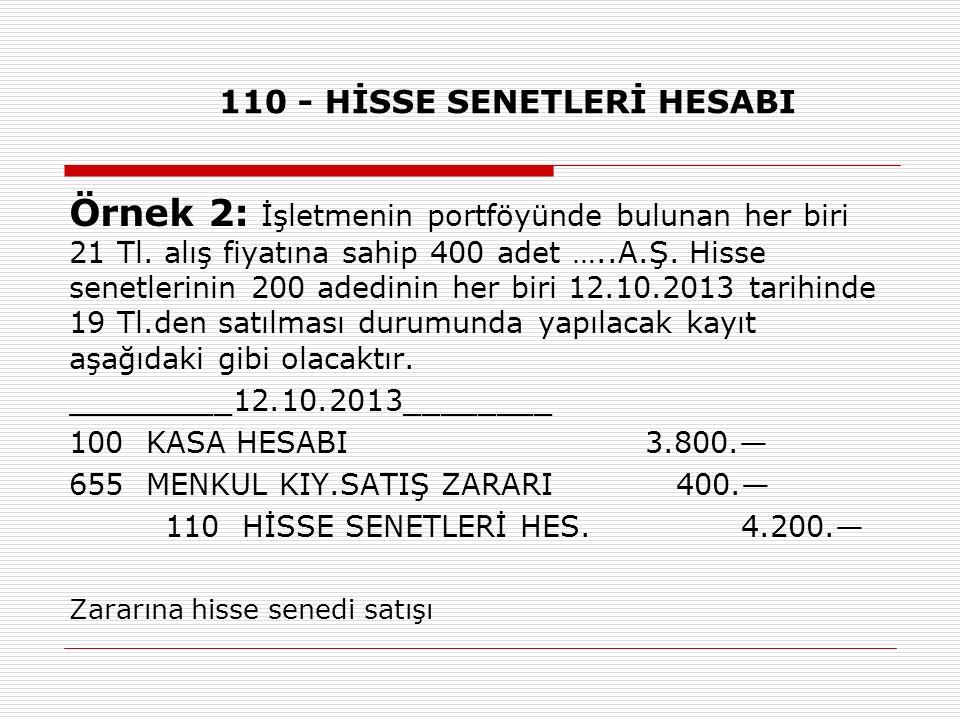 110 - HİSSE SENETLERİ HESABI Örnek 2: İşletmenin portföyünde bulunan her biri 21 Tl. alış fiyatına sahip 400 adet …..A.Ş. Hisse senetlerinin 200 adedi