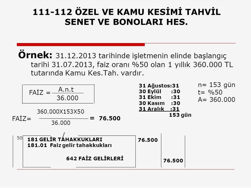 111-112 ÖZEL VE KAMU KESİMİ TAHVİL SENET VE BONOLARI HES. Örnek: 31.12.2013 tarihinde işletmenin elinde başlangıç tarihi 31.07.2013, faiz oranı %50 ol
