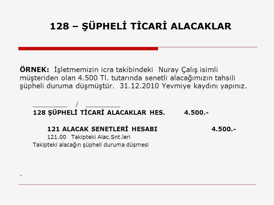 128 – ŞÜPHELİ TİCARİ ALACAKLAR ÖRNEK: İşletmemizin icra takibindeki Nuray Çalış isimli müşteriden olan 4.500 Tl. tutarında senetli alacağımızın tahsil