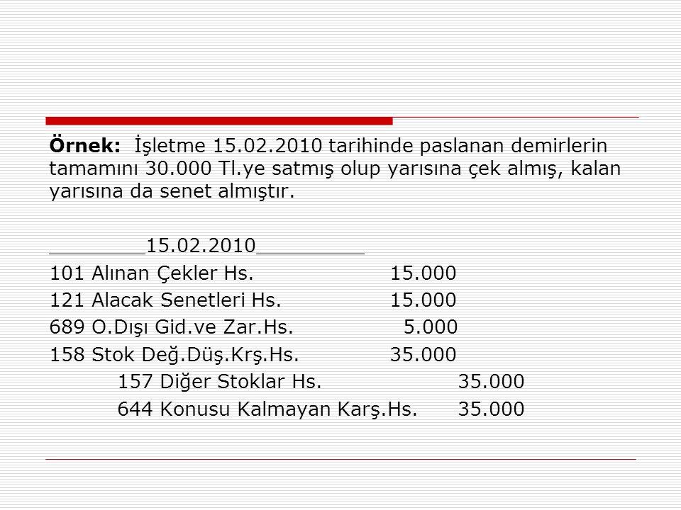 Örnek: İşletme 15.02.2010 tarihinde paslanan demirlerin tamamını 30.000 Tl.ye satmış olup yarısına çek almış, kalan yarısına da senet almıştır.