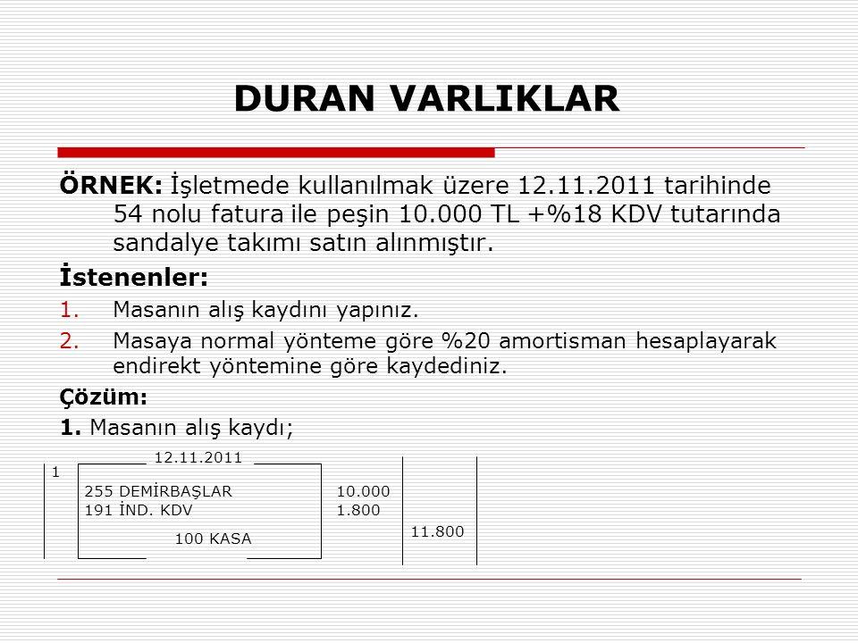DURAN VARLIKLAR ÖRNEK: İşletmede kullanılmak üzere 12.11.2011 tarihinde 54 nolu fatura ile peşin 10.000 TL +%18 KDV tutarında sandalye takımı satın alınmıştır.