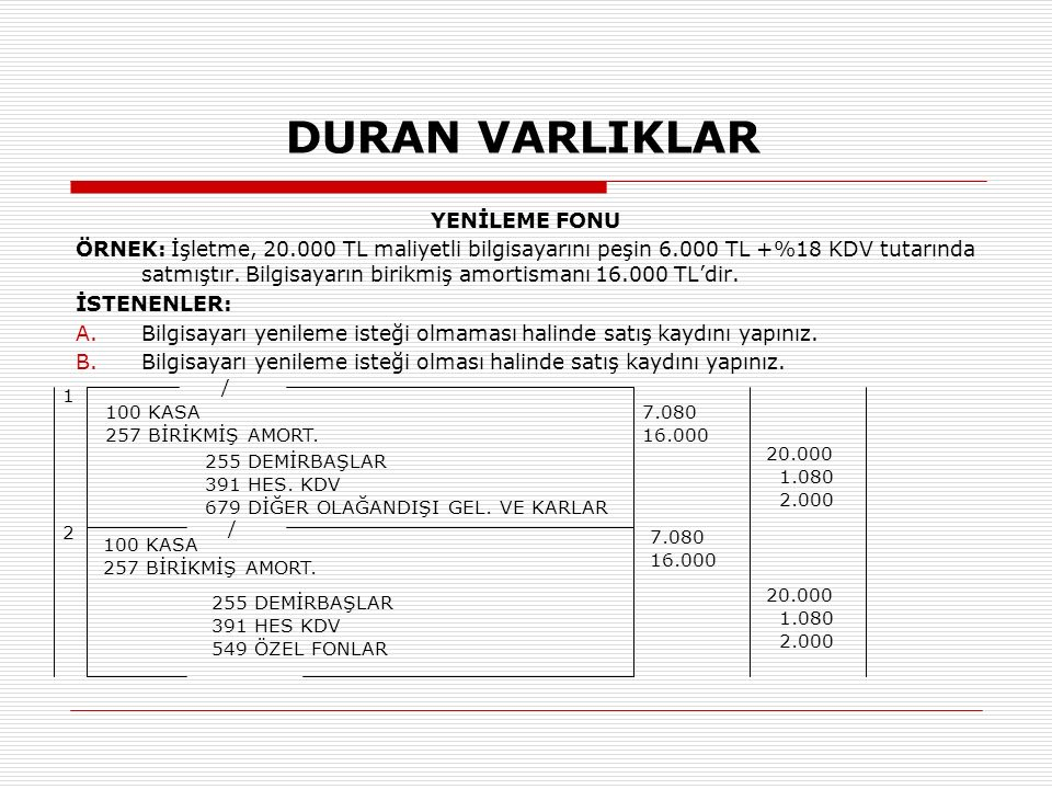 DURAN VARLIKLAR YENİLEME FONU ÖRNEK: İşletme, 20.000 TL maliyetli bilgisayarını peşin 6.000 TL +%18 KDV tutarında satmıştır.