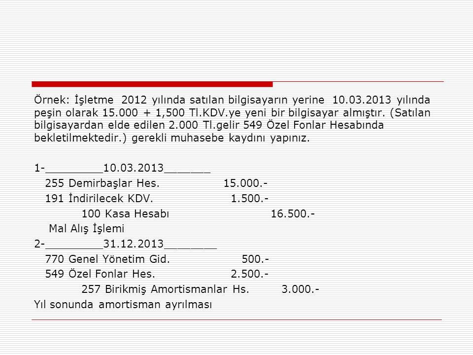 Örnek: İşletme 2012 yılında satılan bilgisayarın yerine 10.03.2013 yılında peşin olarak 15.000 + 1,500 Tl.KDV.ye yeni bir bilgisayar almıştır.