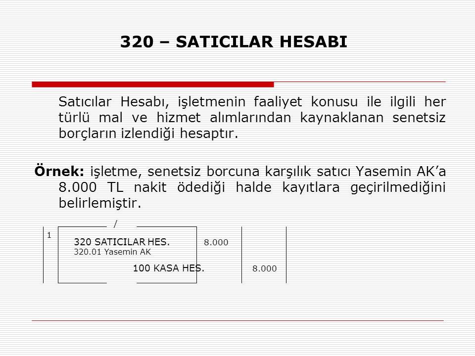 320 – SATICILAR HESABI Satıcılar Hesabı, işletmenin faaliyet konusu ile ilgili her türlü mal ve hizmet alımlarından kaynaklanan senetsiz borçların izlendiği hesaptır.