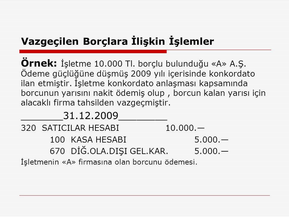 Vazgeçilen Borçlara İlişkin İşlemler Örnek: İşletme 10.000 Tl.