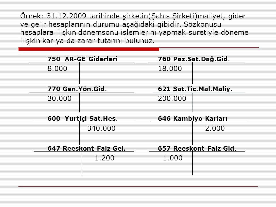 Örnek: 31.12.2009 tarihinde şirketin(Şahıs Şirketi)maliyet, gider ve gelir hesaplarının durumu aşağıdaki gibidir.
