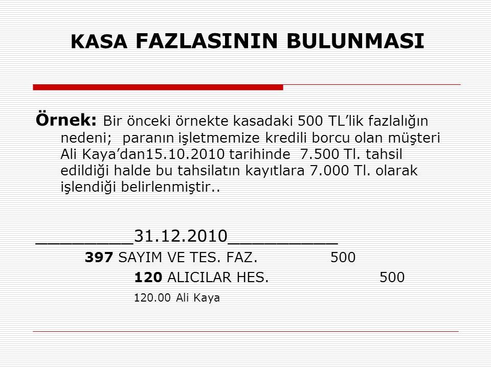 KASA FAZLASININ BULUNMASI Örnek: Bir önceki örnekte kasadaki 500 TL'lik fazlalığın nedeni; paranın işletmemize kredili borcu olan müşteri Ali Kaya'dan15.10.2010 tarihinde 7.500 Tl.