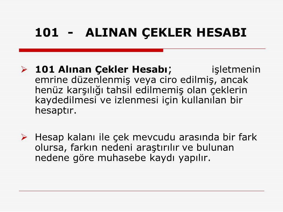 101 - ALINAN ÇEKLER HESABI  101 Alınan Çekler Hesabı ; işletmenin emrine düzenlenmiş veya ciro edilmiş, ancak henüz karşılığı tahsil edilmemiş olan çeklerin kaydedilmesi ve izlenmesi için kullanılan bir hesaptır.