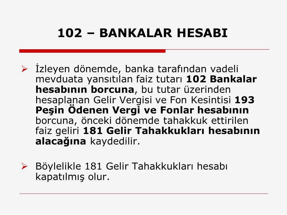 102 – BANKALAR HESABI  İzleyen dönemde, banka tarafından vadeli mevduata yansıtılan faiz tutarı 102 Bankalar hesabının borcuna, bu tutar üzerinden hesaplanan Gelir Vergisi ve Fon Kesintisi 193 Peşin Ödenen Vergi ve Fonlar hesabının borcuna, önceki dönemde tahakkuk ettirilen faiz geliri 181 Gelir Tahakkukları hesabının alacağına kaydedilir.