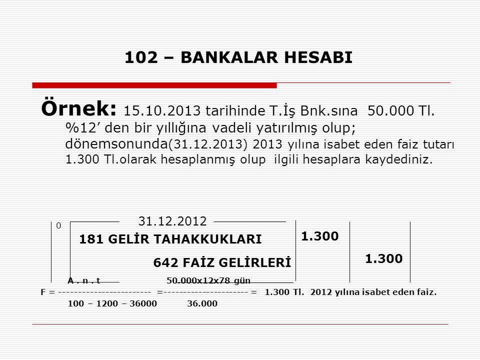 102 – BANKALAR HESABI Örnek: 15.10.2013 tarihinde T.İş Bnk.sına 50.000 Tl.