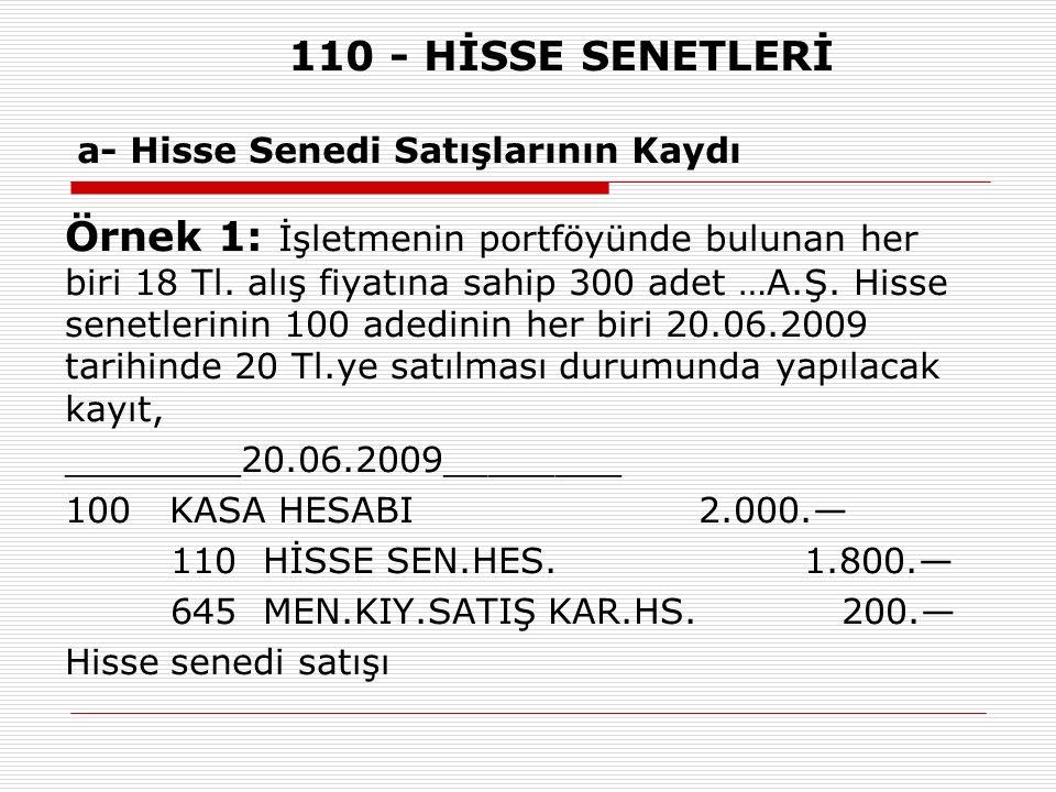 110 - HİSSE SENETLERİ a- Hisse Senedi Satışlarının Kaydı Örnek 1: İşletmenin portföyünde bulunan her biri 18 Tl.