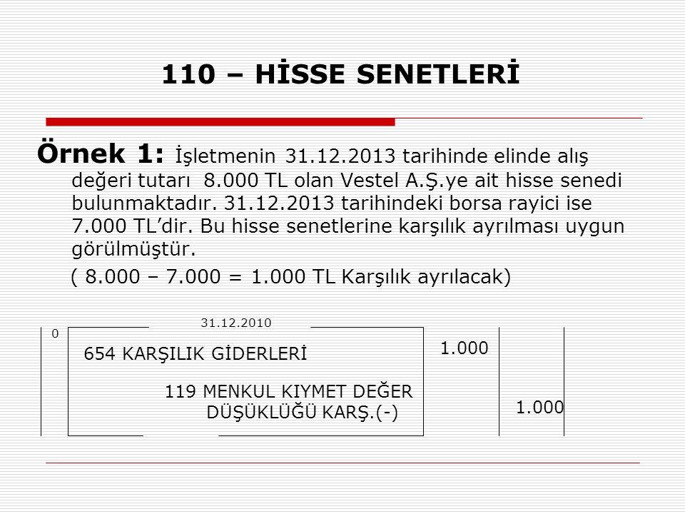 110 – HİSSE SENETLERİ Örnek 1: İşletmenin 31.12.2013 tarihinde elinde alış değeri tutarı 8.000 TL olan Vestel A.Ş.ye ait hisse senedi bulunmaktadır.