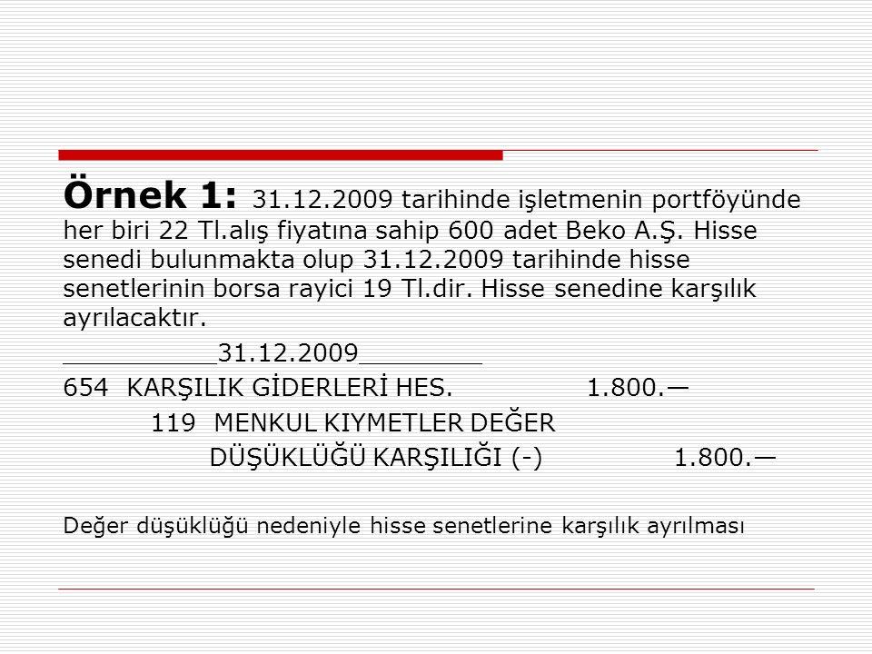 Örnek 1: 31.12.2009 tarihinde işletmenin portföyünde her biri 22 Tl.alış fiyatına sahip 600 adet Beko A.Ş.