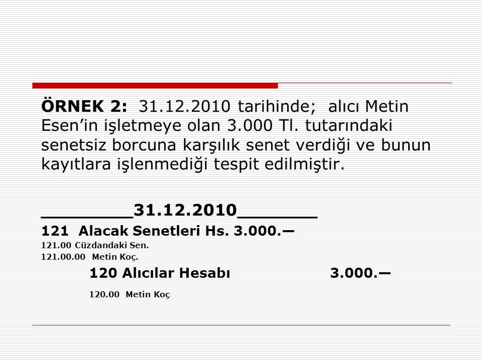 ÖRNEK 2: 31.12.2010 tarihinde; alıcı Metin Esen'in işletmeye olan 3.000 Tl.