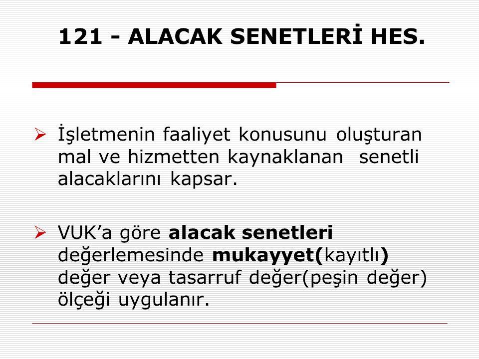 121 - ALACAK SENETLERİ HES.