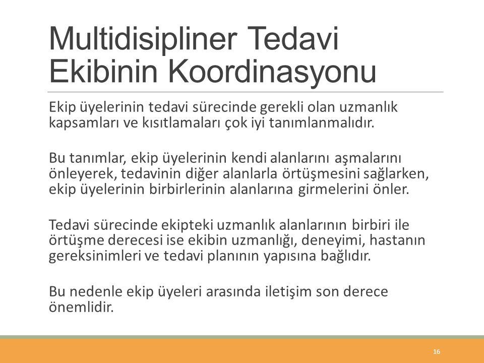 Multidisipliner Tedavi Ekibinin Koordinasyonu Ekip üyelerinin tedavi sürecinde gerekli olan uzmanlık kapsamları ve kısıtlamaları çok iyi tanımlanmalıdır.