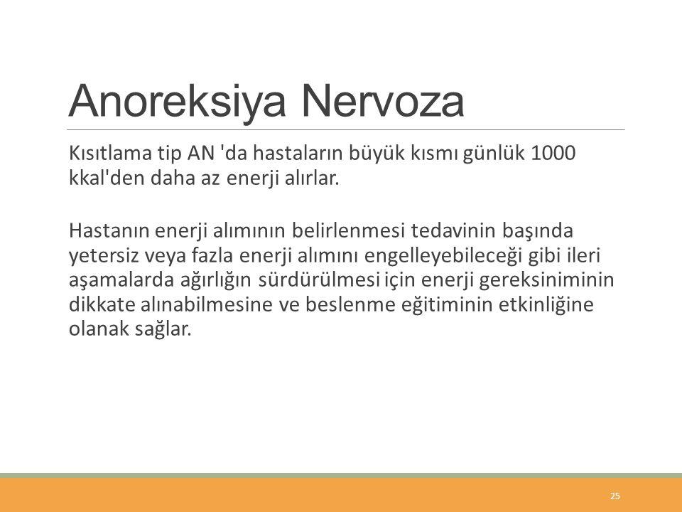 Anoreksiya Nervoza Kısıtlama tip AN da hastaların büyük kısmı günlük 1000 kkal den daha az enerji alırlar.